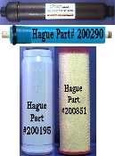 "Hague RO Complete Filter Pack (City Water) - Pack includes: 1 - 10"" Carbon Post-Filter Part# 200195, 1 - Dual Function Pre-Filter Part# 200851, and 1 - Prolonged Contact Filter Part # 200190, Membrane Part# 200290."